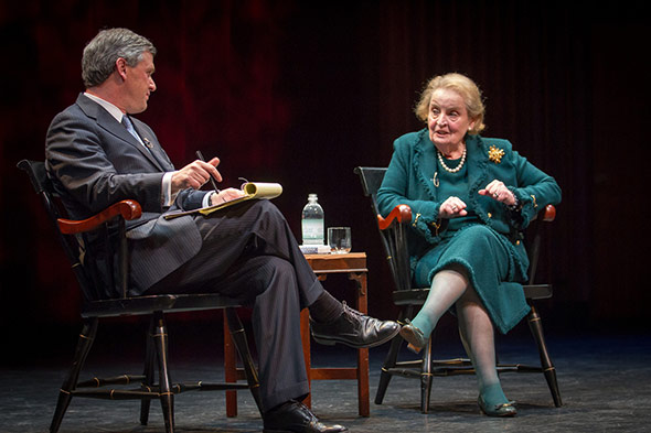 Daniel Benjamin speaking with former Secretary of State Madeleine Albright