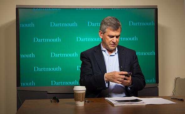 Dickey Center Director Daniel Benjamin prepares to comment on President Obama
