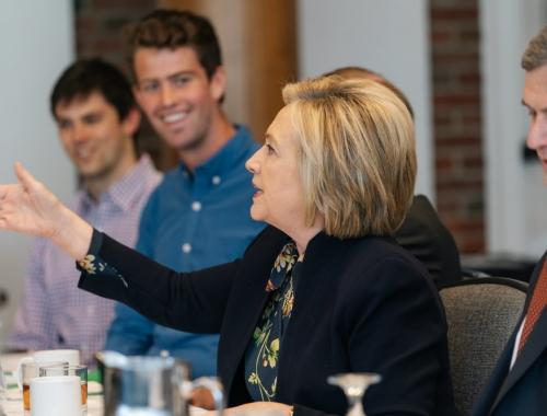Hillary Rodham Clinton meeting with undergraduate students.