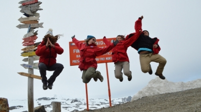 JASE 2015 expedition members jumping for joy in Antarctica.