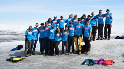 JSEP 2015 expedition members from Denmark, Greenland and the US gathered on the Greenland Ice Sheet.