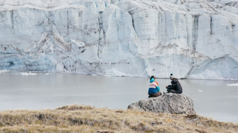 Two students observe the glacier in Kangerlussuaq, Greenland.