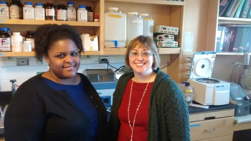 Ariel Marshall, PhD and graduate student Stephanie Bouley pose for a picture in Bouley's lab.