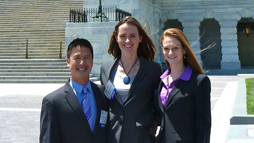 Graduate students Gifford Wong, Julia Bradley-Cook, and Alexandra Giese pose for a picture.