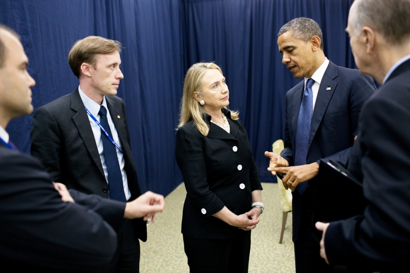 Jake Sullivan speaks with Secretary of State Hillary Clinton and President Barack Obama during the Obama administration. Sullivan was deputy chief of staff for Clinton and later became a national security adviser to then-Vice President Joe Biden.