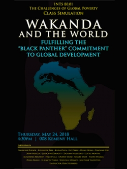 """Poster for the Wakanda policy presentation by Donald Steinberg's """"challenge of global poverty"""" seminar."""